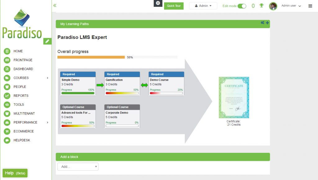 Create learning pathways in the LMS