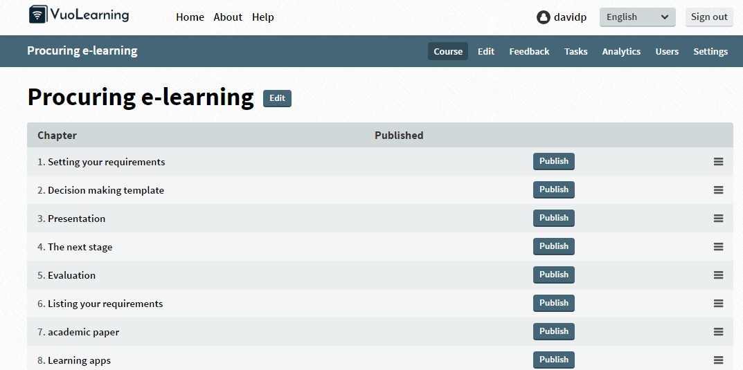 eLearning courses in Vuo - a student view