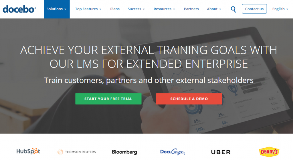 Docebo platform for training customers and channel partners
