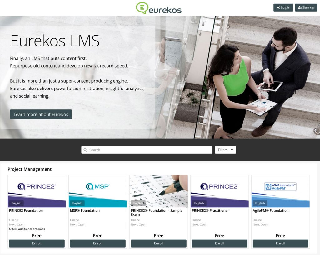 eLearning with ecommerce in Eurekos LMS