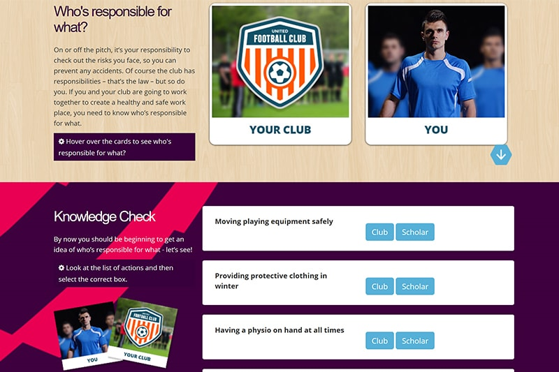 Health and safety elearning for the Premier League