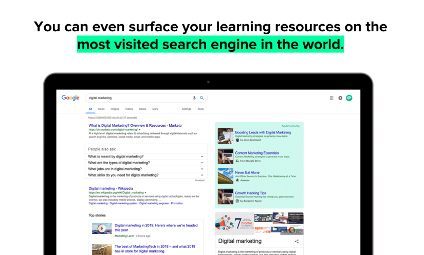 Surface learning resources within Google search results