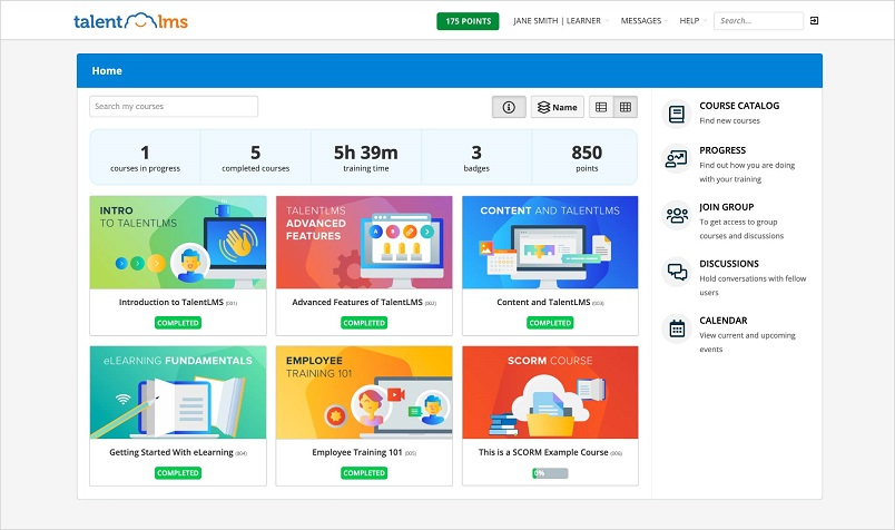 Learner dashboard in the LMS