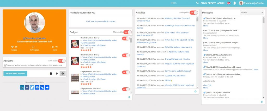 Our uQualio review - here the user home section