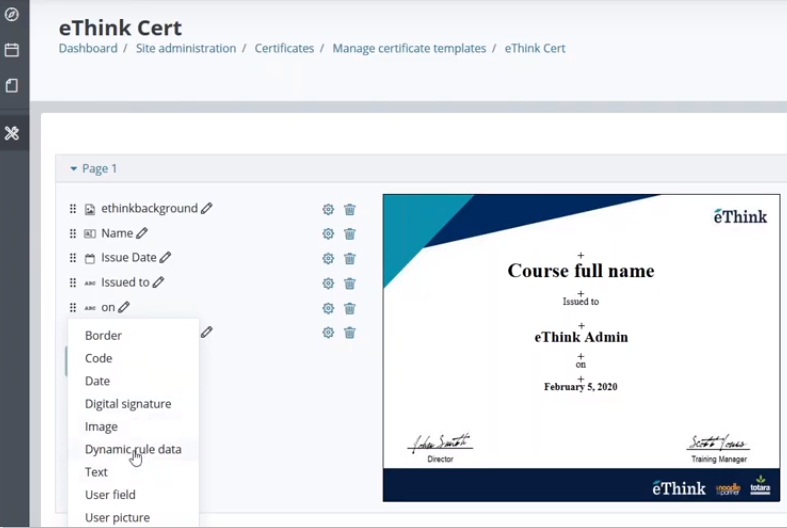 Moodle Workplace certification from eThink