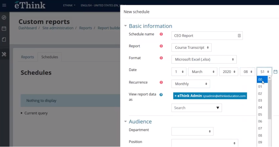 Moodle Workplace custom reports