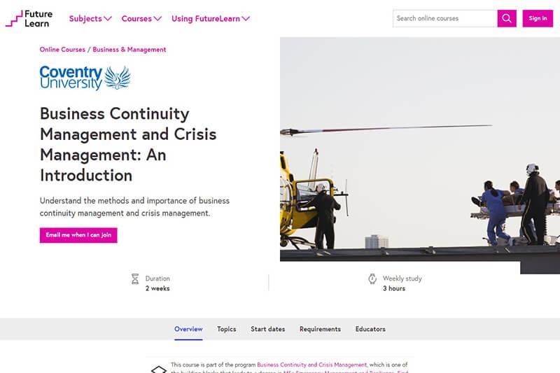 FutureLearn crisis management