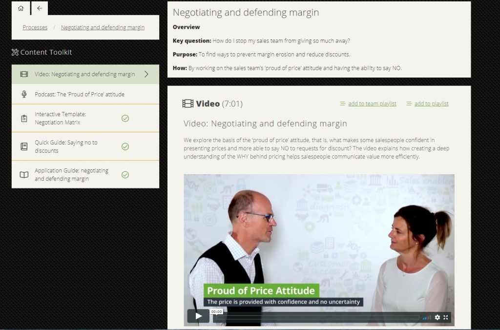 Sales training videos in the Kojopro platform