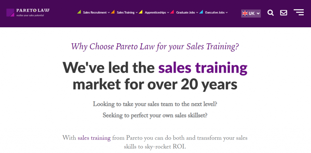 Sales training from Pareto Law