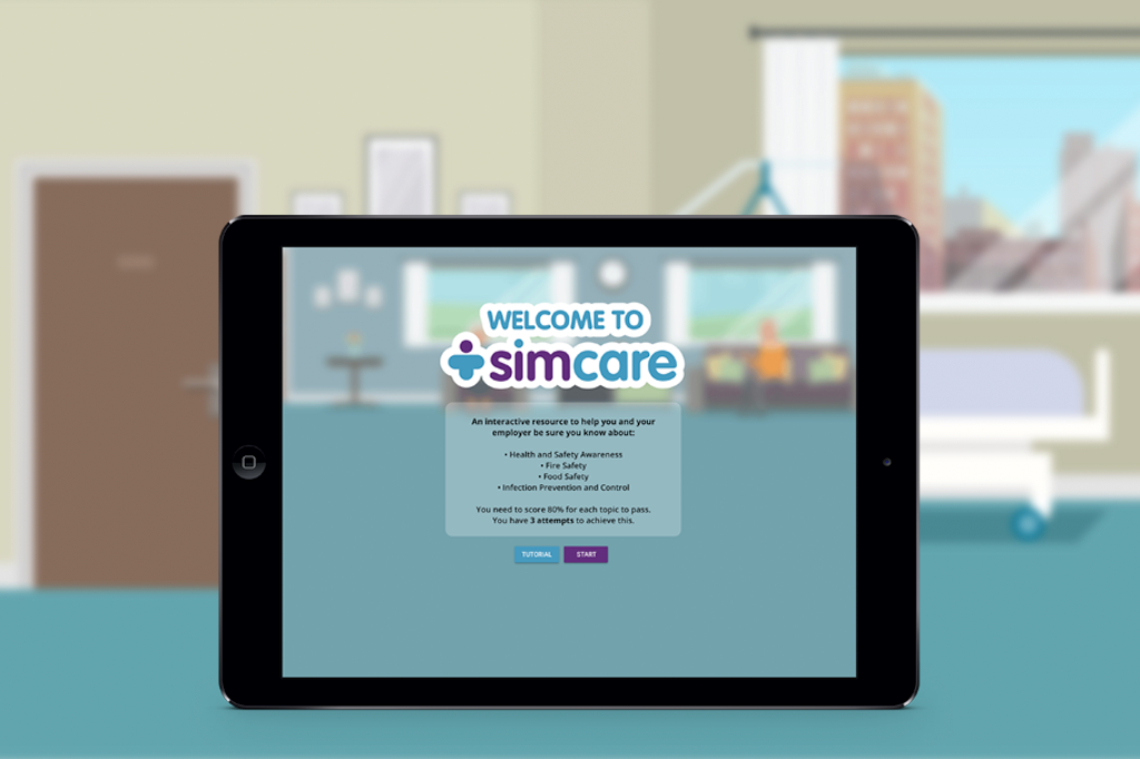Safety training with elearning for Simcare