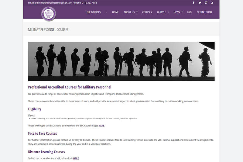 The Business School UK military courses