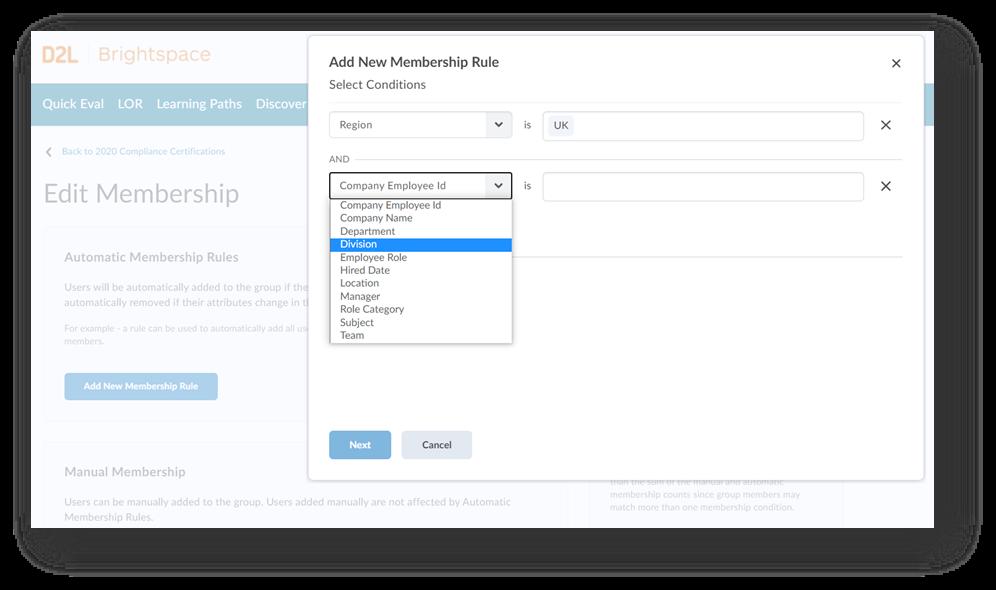 Automatic membership enrolment feature